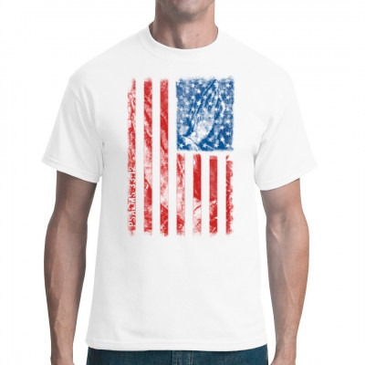 Das Star-Spangled Banner, unterlegt mit zum Gebet gefalteten Händen, als Symbol für die religöse Prägung der Vereinigten Staaten von Amerika. Religiöses Motiv für US - Patrioten.