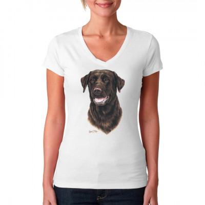 Ein schokoladenbrauner Labrador als Motiv für dein T-Shirt, Sweatshirt oder V-Neck Toller Aufdruck für alle Tierfreunde und Hundezüchter