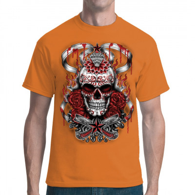 Ein traditioneller mexikanischer Zuckerschädel mit dämonischer Dekoration als cooles Motiv für Dein Shirt. Bist Du bereit, dich dem Blut, den Flammen und den Rosen zu stellen, die diesen Totenkopf verzieren?