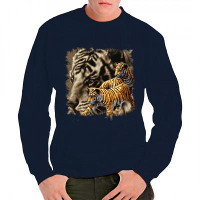 Hol Dir die Wildnis ins Haus, mit diesem zwei Tigern auf Deinem Shirt. Cooles Raubkatzen - Shirt für Naturfreunde.