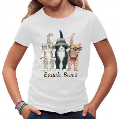 Witziges Comic Shirt mit 3 Katzen im Strand-Outfit.   Mittels Siebdruck-Transferverfahren aufgebracht. waschfest