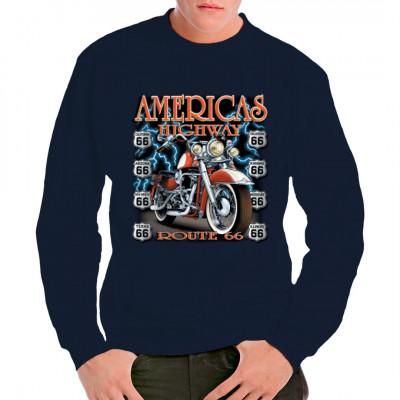Route 66 - Chopper mit Blitzen Cooles übergroßes Biker-Motiv als Aufdruck für dein T-Shirt, Sweatshirt oder V-Neck  Motivgröße: 12x13 Zoll