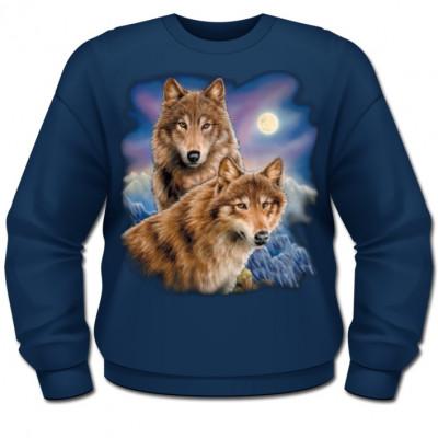 Tolles Wolfsmotiv: 2 Wölfe in einer eisigen Nacht vor Vollmond und Nordlicht.
