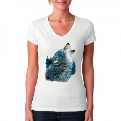 Schönes Shirt Motiv mit einem heulenden Wolf.  Motivgröße: 25 x 33 cm