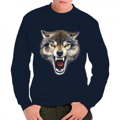 Zähne fletschender Wolf als Motiv für dein T-Shirt, Sweatshirt oder V-Neck
