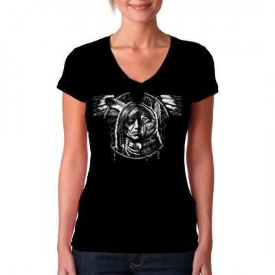 Dieser Traumfänger ist halb Indianer, halb Wolf. Spirituelles Motiv für dein T-Shirt, V-Neck oder Sweatshirt