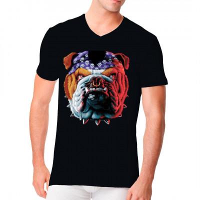 Bull Dogge mit Nasenring Hunde - Motiv, Sonstige, Tiere, Biker, Hunde, Biker, Hunde