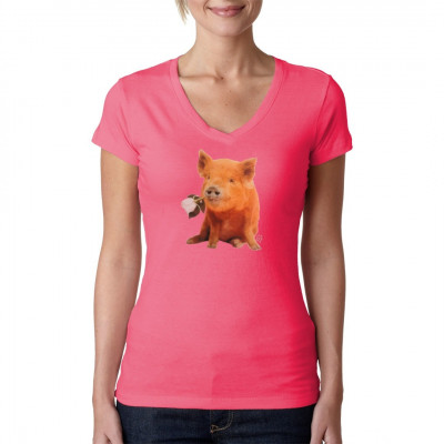 Shirt Motiv: Süßes Schweinchen mit einer Rose im Mund. Motivgröße: 26 x 22 cm