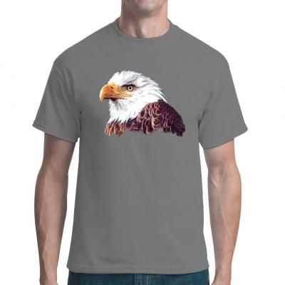 Adler Kopf T-Shirt Motiv  Mittels Transfer Siebdruckverfahren aufgebracht. waschfest Motivgröße: 26 x 33 cm