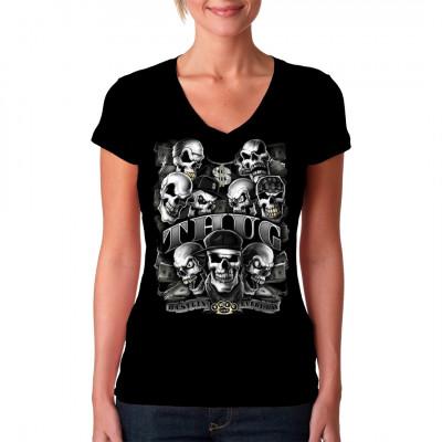 T-Shirt Motiv. Thug  Gangster Totenschädel im Ghetto- Style , mit Schlagring, Dollarscheinen und Zigarren. Cooles Hip Hop Motiv.