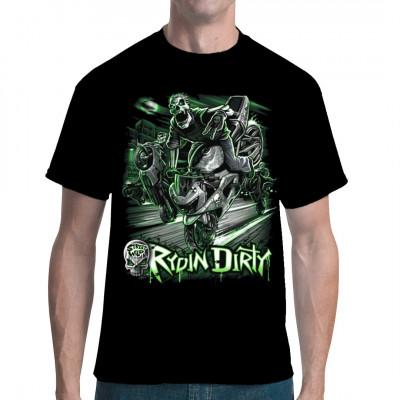Rydin' Dirty Shirt, Männer & Frauen, Totenköpfe & Gothic, Biker, Totenköpfe, Biker