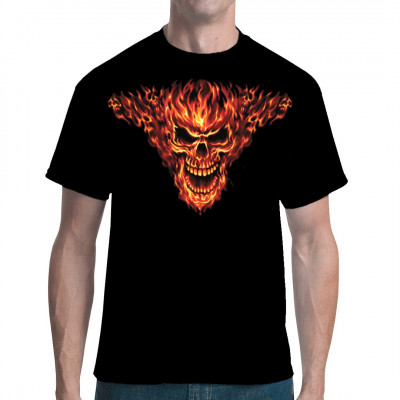 T-Shirt - Motiv : Brennender Totenkopf , Cooles Biker Oversize Motiv Motivgröße: 16 x 20 Zoll