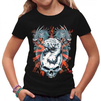 Motiv: Tiger and Dragons  Ein weißer Tiger auf einem Totenschädel und zwei blaue Drachen.
