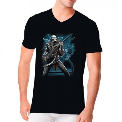 T-Shirt Motiv: Predator rocks Die Untoten rocken das Haus. Cooles Skelett mit E-Gitarre am Abschädeln. True Metal Shirt
