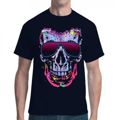 Dieser Totenschädel hat die Coolness gepachtet, und er gibt dir gern eine Dosis ab. Hol dir diesen übergroßen Totenkopf in schillernden Neon - Farben als Druck für dein T-Shirt, Sweatshirt oder V-Neck.