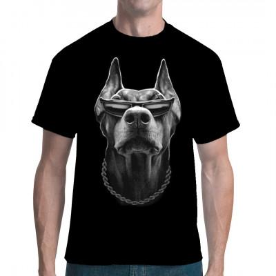 Cool Dobermann mit Brille, Hund, Tiere & Natur, HAUSTIERE, Hunde, Hunde