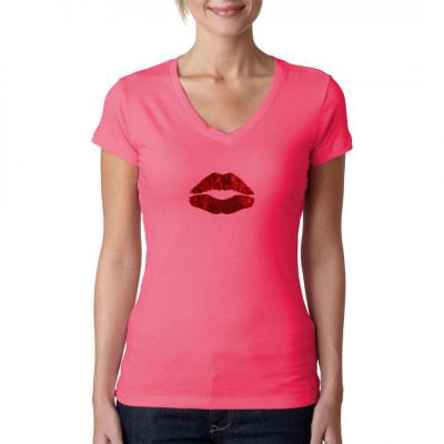 Motiv: Lips (Pailletten)  Volle Rote Lippen bestehend aus roten Pailletten.
