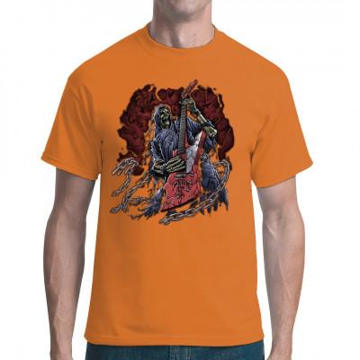 Cooles Rocker-Motiv: Hatchet Man Dieses Skelett lässt sich von seinem untoten Dasein nicht abschrecken. Es wirf sich eine zerfledderte Robe über, schnappt sich seine Gitarre und rockt die Hölle bis zum Jüngsten Gericht.