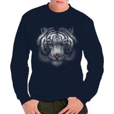 T-Shirt Motiv: Majestic white Tiger  Das angsteinflößende Gesicht eines majestätischen weißen Tigers.