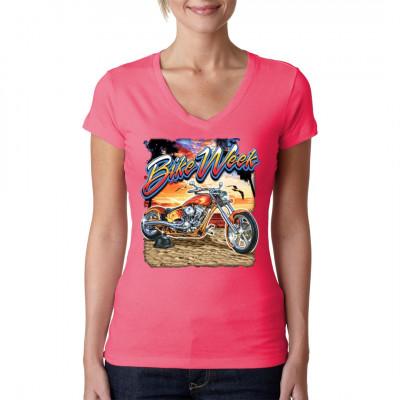 Motiv: Bike Weeks 2 Cooler Chopper am Strand unter Palmen. Tolles Shirt für einen Biker im Sommerurlaub.