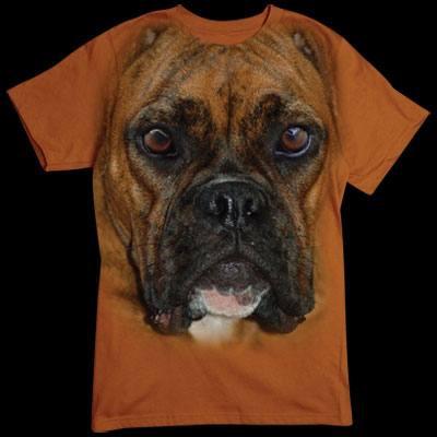 Übergroßes T-Shirt - Motiv für Hunde - Fans: Boxer Gesicht Für alle Naturfreunde kommt hier der absolute Knaller: Oversize-Motive, die sich über das gesamte Shirt erstrecken. Diese Motive gehen nahtlos in die Farbe des Textils über und sind deshalb nur a