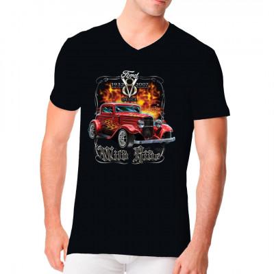Du stehst auf amerikanische Autos und Tuning? Dann ist dieser Hot Rod - Umbau eines Ford Model B Deuce Coupe genau das richtige Motiv für dein Shirt. Fetziges Hot Rod Motiv für alle, die auf einen wilden Ritt stehen.