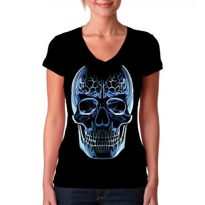 Cooles Totenkopf-Motiv: Glass Skull  Blauer transparenter Glastotenkopf. Cooles Motiv für dunkle Shirts und Textilien.