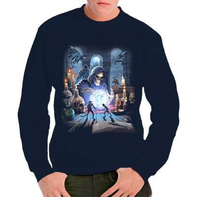 Wenn der Tod untote Drachen und Dämonen beschwört, ist er dann ein Totenbeschwörer? Cooles Fantasy & Gothic Motiv für dein Shirt.