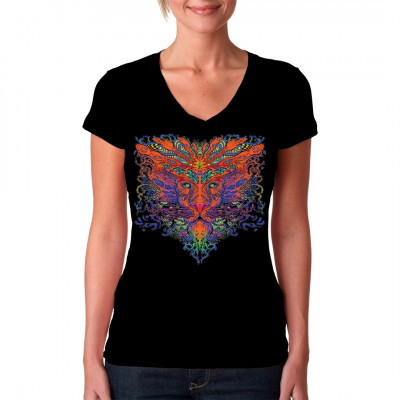 Leuchtender Löwenkopf in psychedelischen Farben, cooles Hippie Motiv Wenn man Löwen in diesen Farben sieht, dann hätte man doch weniger Drogen nehmen sollen.
