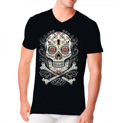 Cooles Totenkopf-Motiv: Floral Skull  Cooles Totenkopf- Motiv im bunten Dia de los Muertos Stil. In Mexico verwendet man diese bunten Totenköpfe, die Calavera de Dulce aus Zucker oder Schokolade, um den Verstorbenen am Tag der Toten zu gedenken.