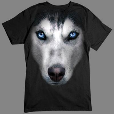 T-Shirt - Motiv: Sibirischer Husky Tolles übergroßes Motiv für alle Hundefans. Hol Dir diesen Rassehund für dein T-Shirt.