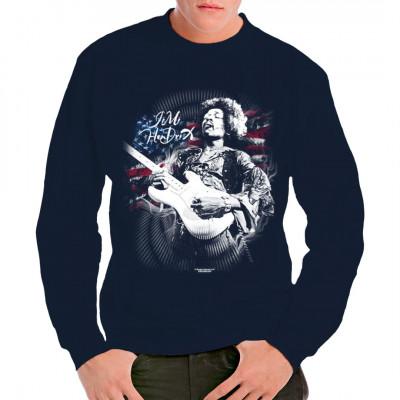 Der, laut dem Rolling Stone Magazin, beste Gitarrist der Welt posiert vor einer Flagge der USA.