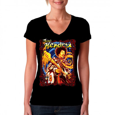 Jimi Hendrix, der größte Gitarrist aller Zeiten, in einem psychedelischen Motiv für dein Shirt. Eine eigenartige Ansammlung von bunten Farben und verzerrten Augen lässt diesen Druck wie ein Alptraum von Timothy Leary oder ein Gemälde von Salvador Dalí wir