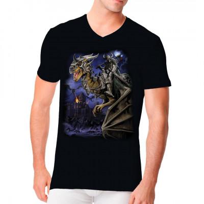 The Dragon Master Tolles Fantasy - Motiv für dein Shirt, ideal für dunkle Textilien.  Übergroßes Motiv: 14x19 Zoll
