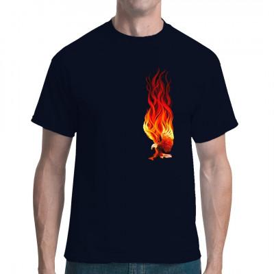 Adler mit brennenden Schwingen als cooles Fantasy Shirt Motiv. Motiv enthält zusätzlichen Rückendruck. Motivgröße: 26 x 18 cm