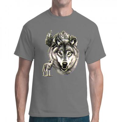 T-Shirt - Motiv : Heulender Wolf Motivgröße: 30 x 22 cm  Mittels Transfer Siebdruckverfahren aufgebracht. waschfest