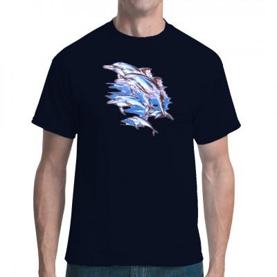 T-Shirt - Motiv : 3 Delphine im Meer springen aus dem Wasser. Delphin Motiv für jedes Shirt deiner Wahl.  Motivgröße: 18 x 22 cm