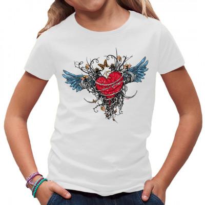 T-Shirt - Motiv : geflügeltes Herz in Ketten, Bleeding Heart With Wings Cooles Tattoo Style Gothic Motiv in kräftigen Farben für dein T-Shirt, Sweatshirt oder V-Neck.