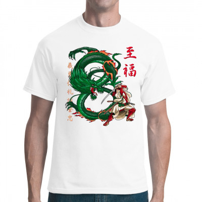 Motiv: Dragon Samurai  Japanisches Shirt-Motiv eines Samurai der gegen einen Drachen Kämpft.