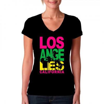 Motiv: Los Angeles Stacked Fluorescent  Los Angeles Schriftzug in leuchtenden Farben und Palmen. Tolles Geschenk und Souvenir. Perfekt für alle Fans des Sunshine Staadt California.