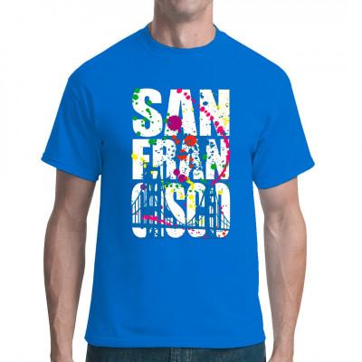 Motiv: San Francisco Golden Gate Bridge  Das Wahrzeichen von San Francisco, die Golden Gate Bridge als cooles Motiv für dein Shirt.