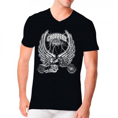 Cooles Biker-Motiv mit einem Custom Chopper, unterlegt mit Flügeln. Perfektes Motiv für das Harley - Treffen oder den Rocker-Club.