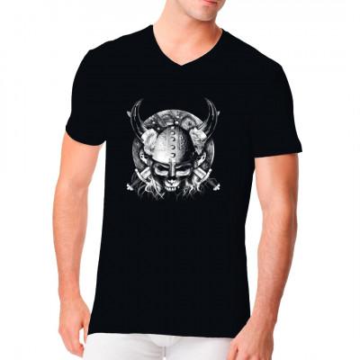 Wikinger Totenkopf Krieger mit gekeuzten Schwertern, Biker Oversize Motiv für dunkle Textilien geeignet
