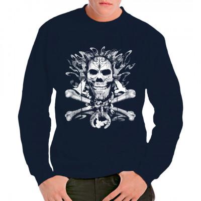 T-Shirt - Motiv : Totenschädel mit gekreuzten Knochen und Tauben Motivgröße: 35 x 35 cm