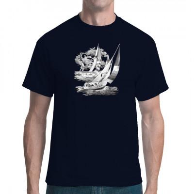 Motiv: Action Sail  Cooles Segel Motiv. Zwei Segelschiffe bei Sturm und Wellengang. Perfektes Motiv für alle Seemänner.