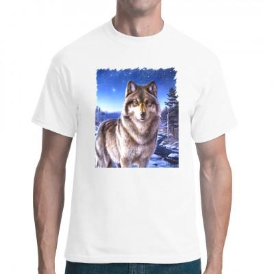 Wolf im Polarlicht für Tierliebhaber tolles Tiermotiv für dein Shirt  Motivgröße: 35 x 28 cm