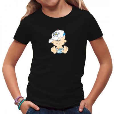 Kleines Baby mit Baseball Cap. Witziges Shirt Motiv für Kids
