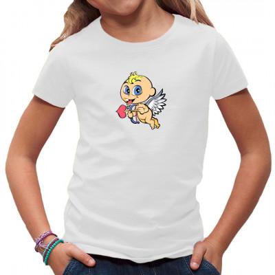 Kleine Putte spielt Amor und verschießt Liebespfeile. Witziges Kindermotiv für dein Shirt