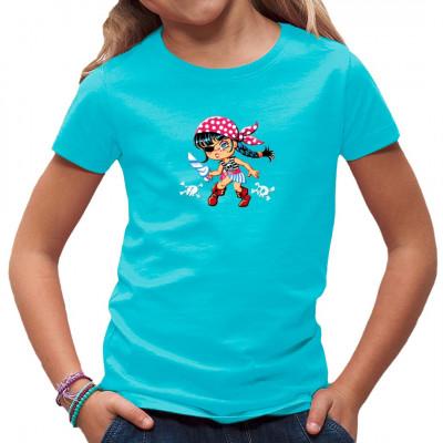 Kleine Piratenbraut mit Entermesser und Kopftuch als Aufdruck für dein Shirt Witziges Shirt-Motiv für Kinder und Piraten - Fans.