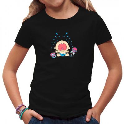 Weinender Windelpupser mit Schnuller und Rassel als Motiv für dein Shirt, ideal für Kinder.